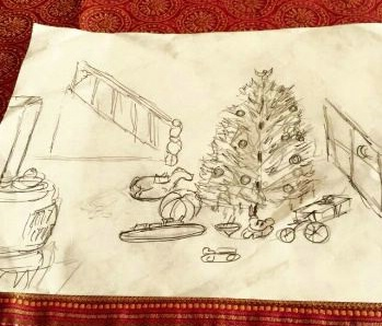A drawing of Christmas morning by Heather's father